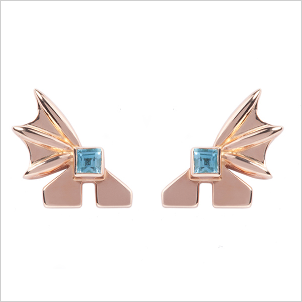 Hope square studs  £225    Silver plated in rose gold and embellished with blue topaz gemstones