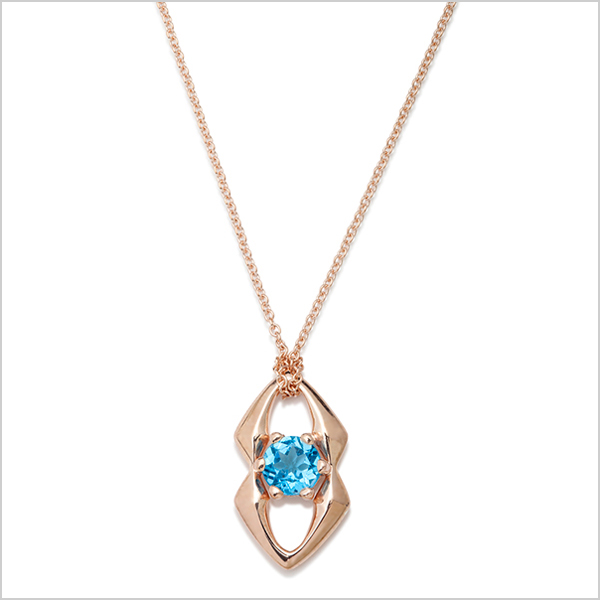 Hope Gemstone pendant £210    Silver plated in rose gold and embellished with blue topaz gemstone