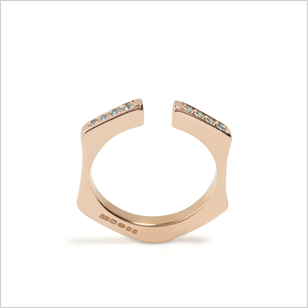 Hope stacking ring with gemstones £165    Silver plated in rose gold and embellished with blue topaz gemstones