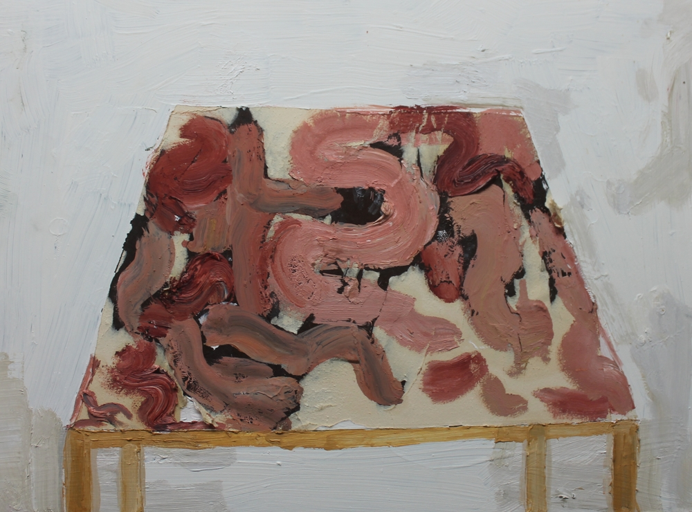 Dissection Table , 2013, oil and paper on panel, 18 x 24 inches