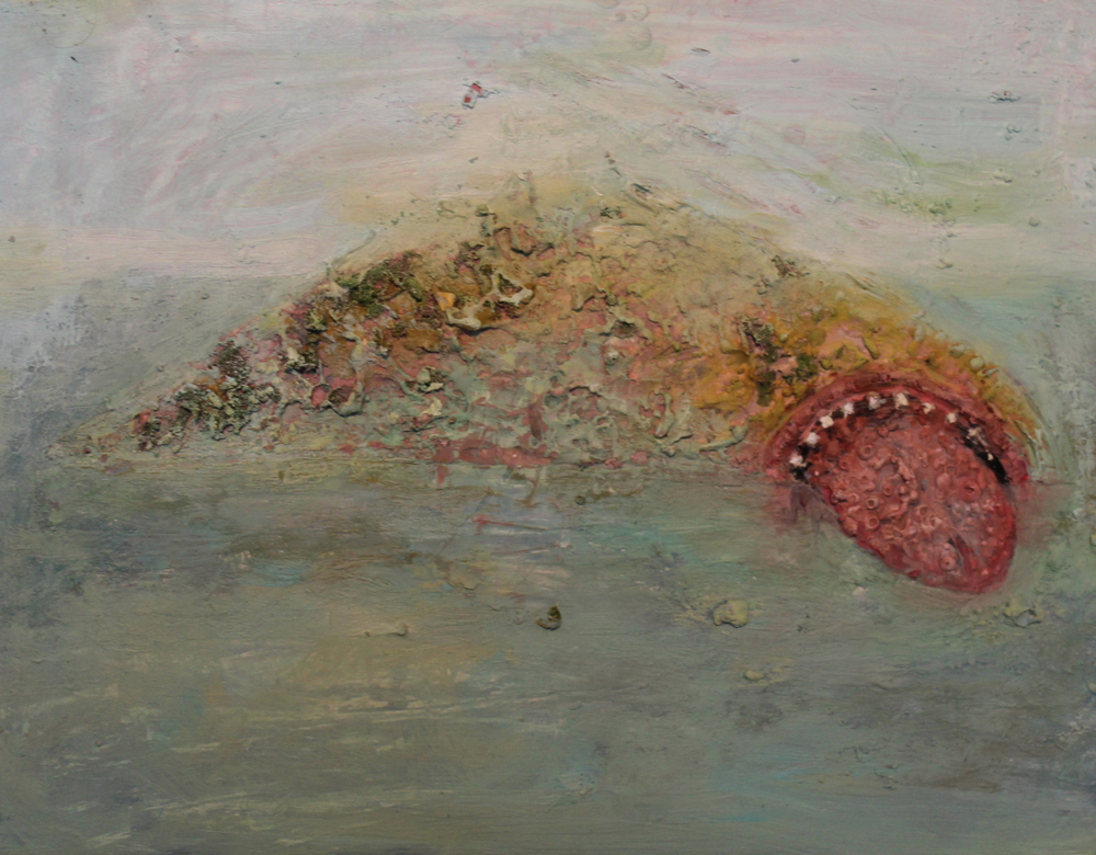 Seascape , 2012, encaustic and oil on panel, 11 x 17 inches