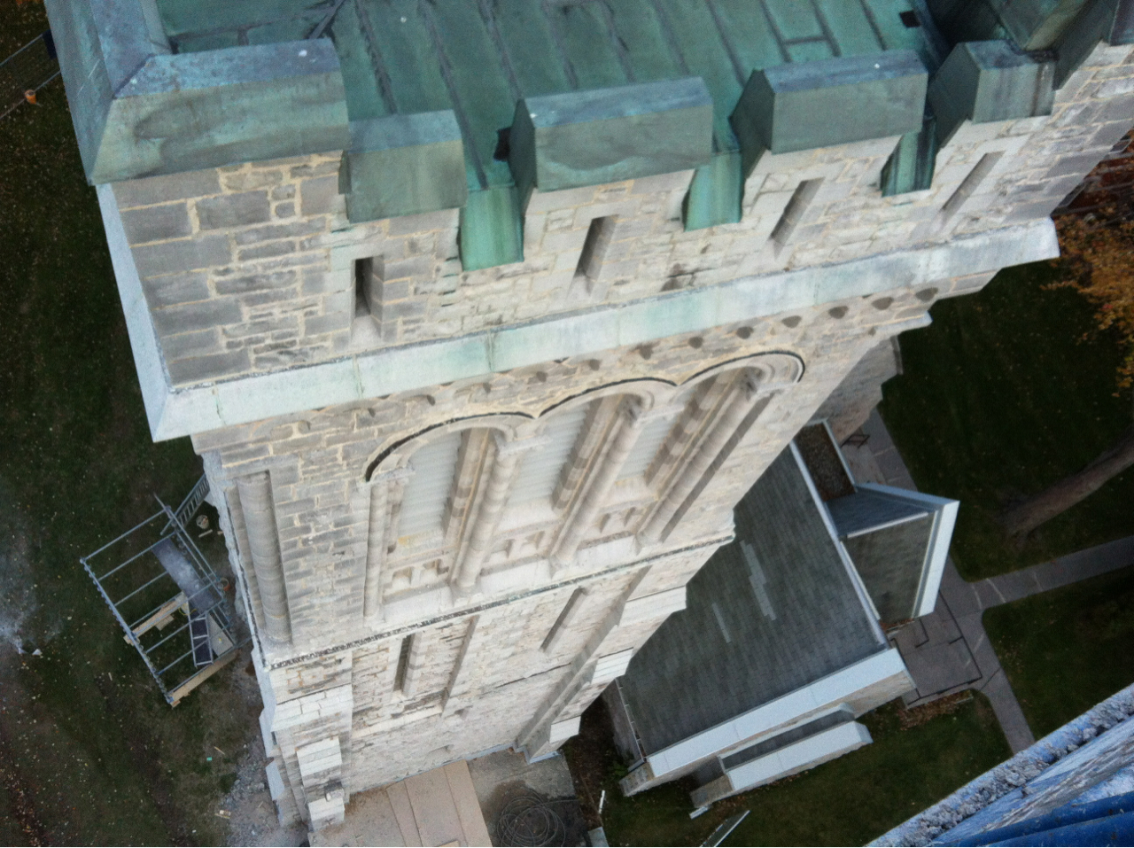 Towards the end of our project at the church we decided to check out the view from the fully extended lift that we have been using the access the upper section of the bell tower. At 125' above Kingston, we get a unique view of the church that not even its original builders would have seen.