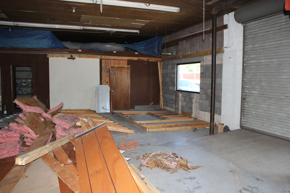 Interior of gym...after the walls came down