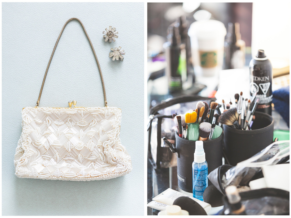 bride's purse and make-up