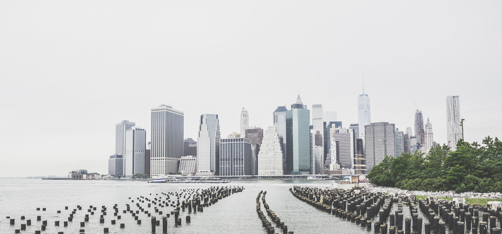 A view of the Manhattan skyline from across the river.