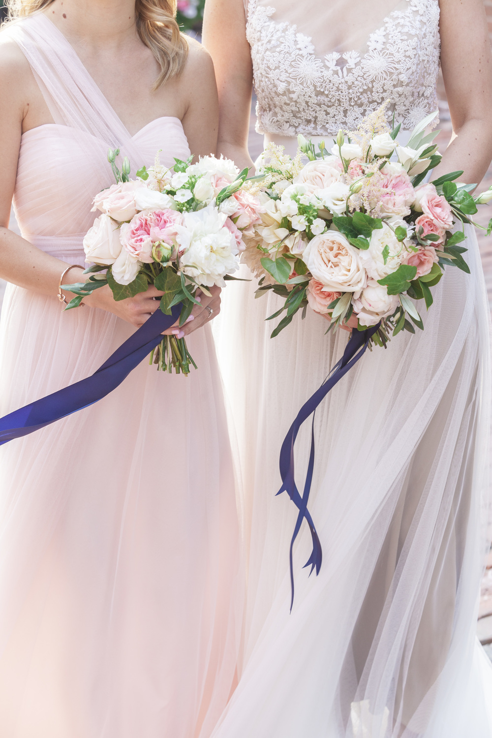 The maid of honour and bride's bouquets.