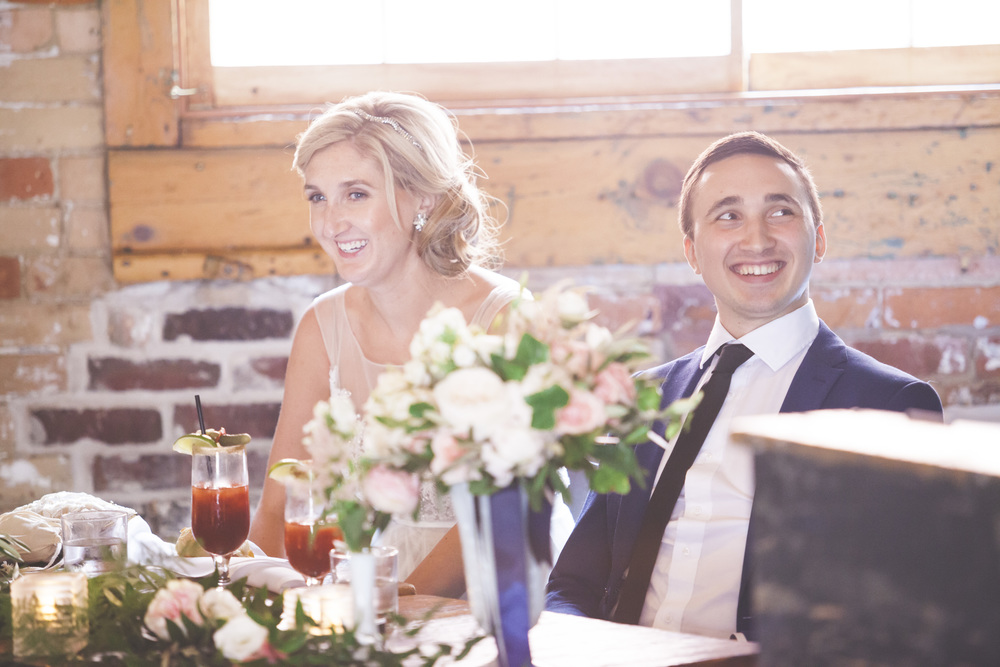 The bride and groom at the head table.