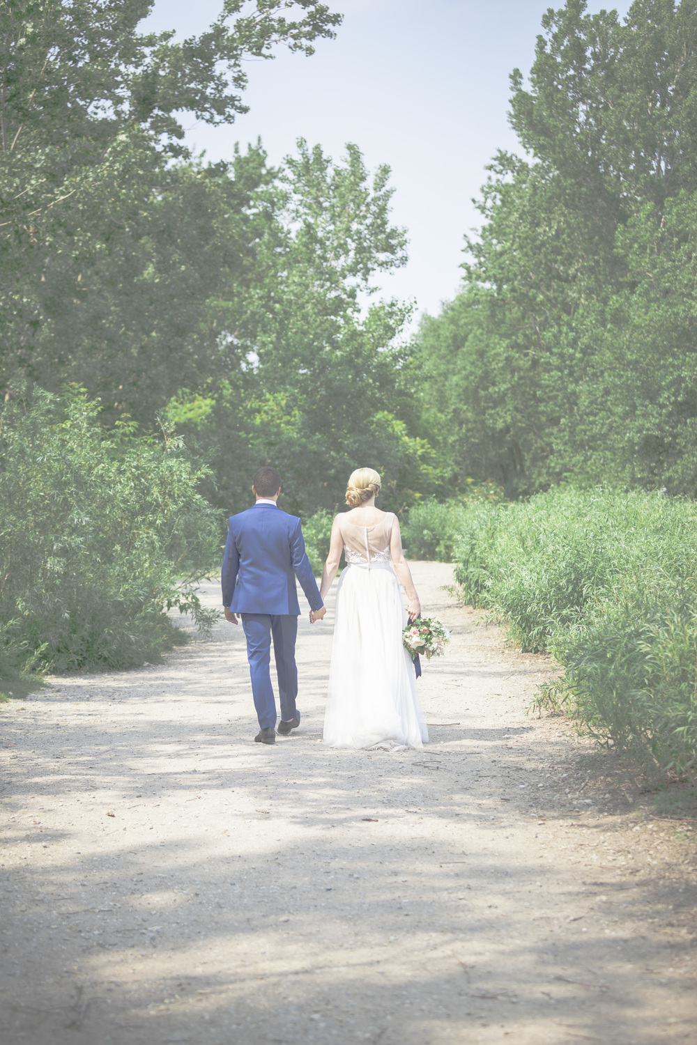 Walking through a path as husband and wife.