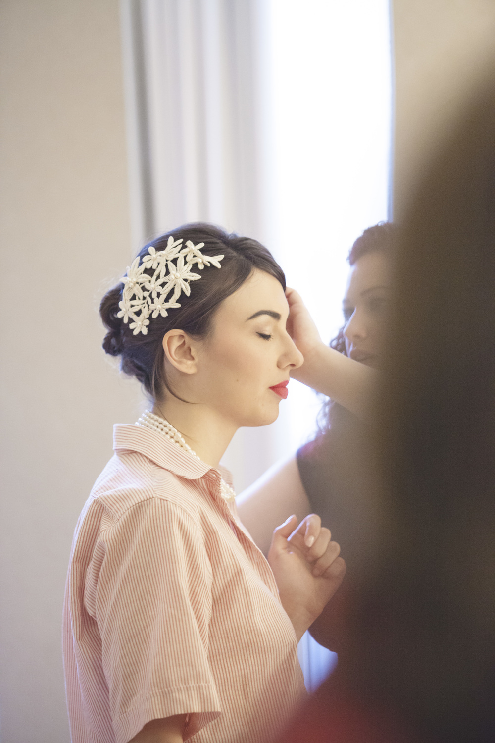 Bride in Toronto getting make-up ready