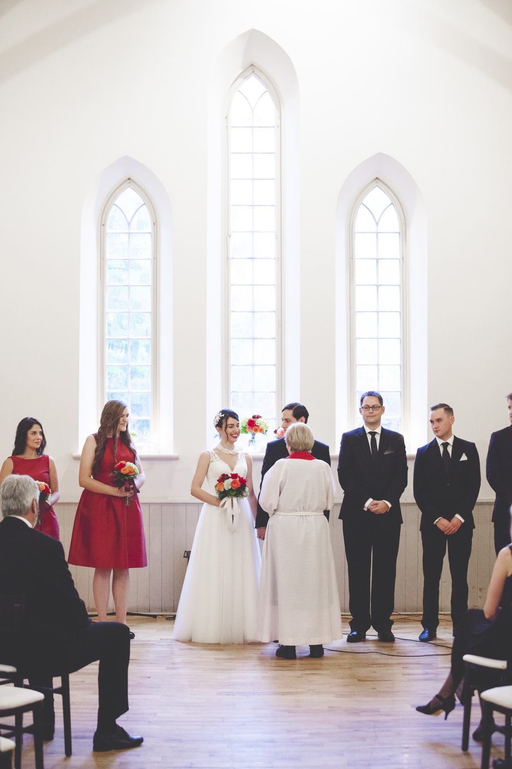 Wedding ceremony inside Enoch Turner Schoolhouse in Toronto