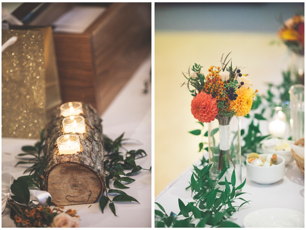 Some cool log candle holders made by the groom!
