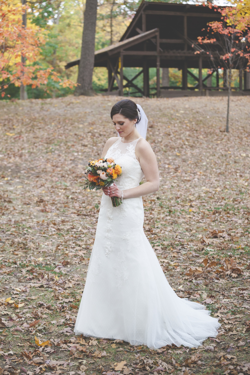 A great autumnal bride shot at Mohawk Park in Brantford along the Grand River.