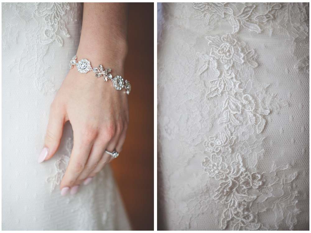 Wedding photography details of the crystal bracelet and dress.