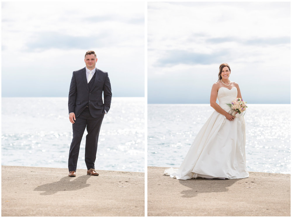 Wedding portraits in Kincardine at the end of a pier