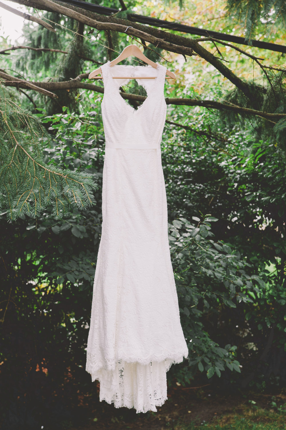 Wedding dress hanging from a tree