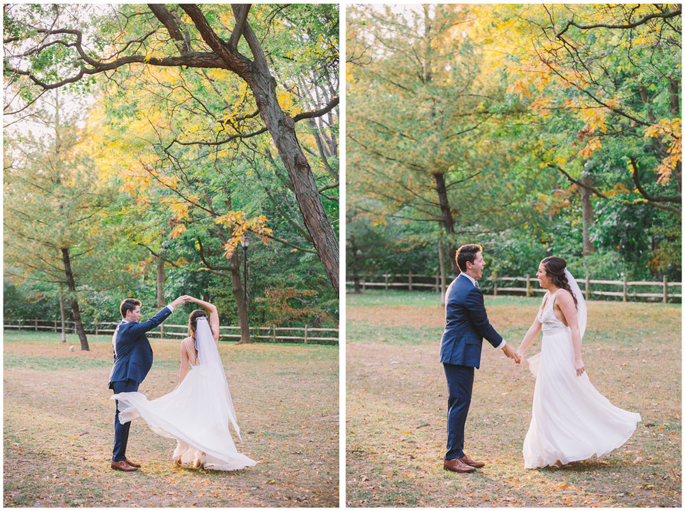 Wedding couple dancing in Craigleigh Gardens park in the fall.