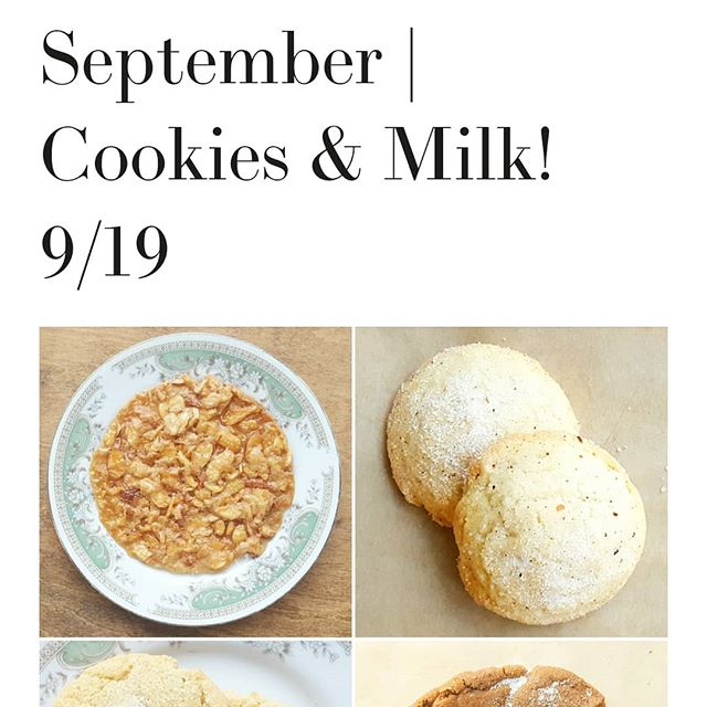 Cookies & Milk class! Still a couple spots left in this week's class. We're making some of my favorite cookies, plus nut milk and sweetened condensed milk frosting. Hands on class. Wednesday, 9/19, $50; includes all recipes, class instruction and lots of treats!