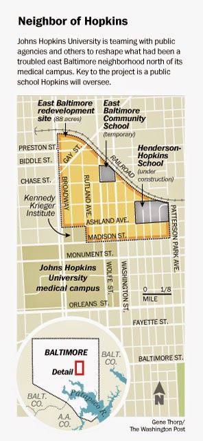The East Baltimore Development Initiative's revitalization of East Baltimore includes a new charter school.  Graphic courtesy of Gene Thorp, Washington Post.