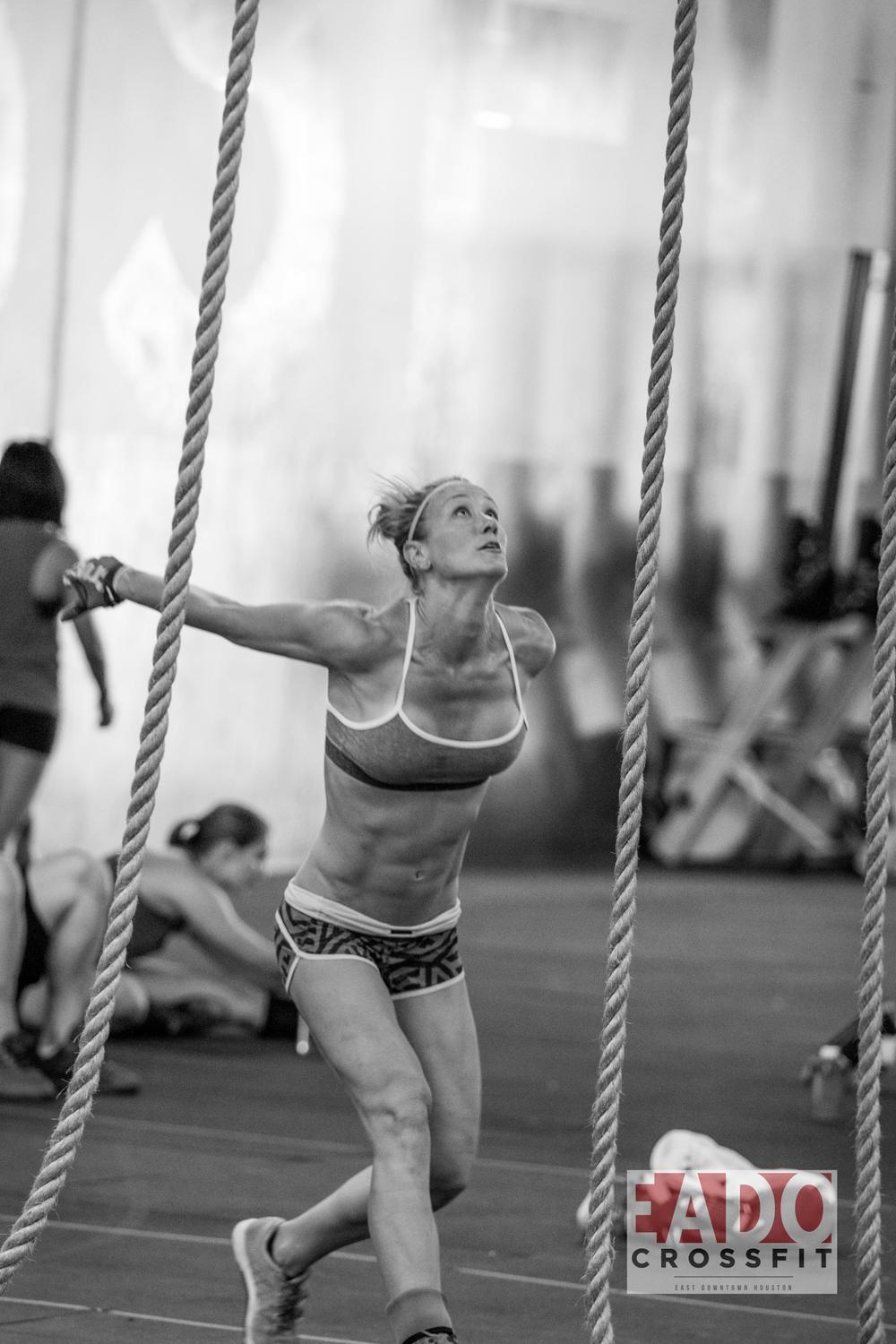 EaDo Elite Athlete Julie Felts during last weeks rope climb workout  Photo Credit:  Sierra Prime