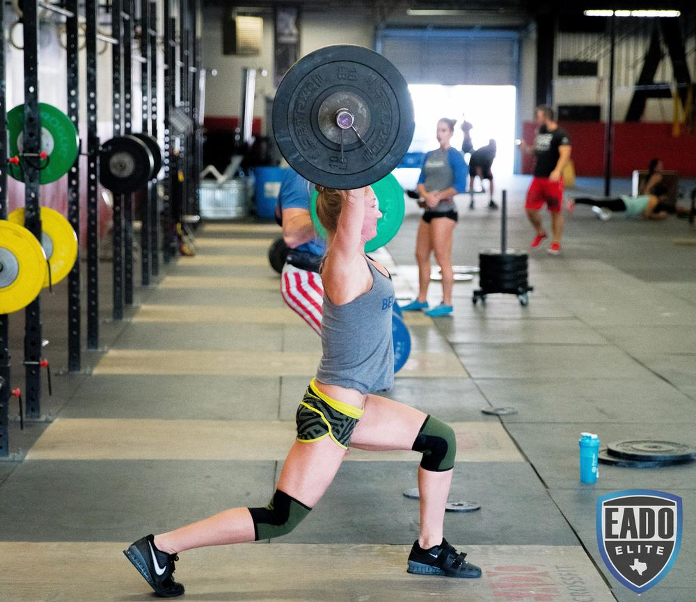EaDo Elite Athlete Julie Felts performing a split jerk     Photo Credit: Sierra Prime