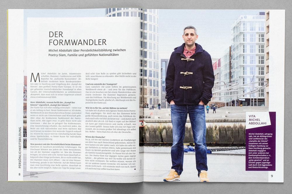"""Beilage der ZEIT,""""Aufbrüche"""" / Magazin der Joachim Herz Stiftung, Porträt von Michel Abdollahi"""