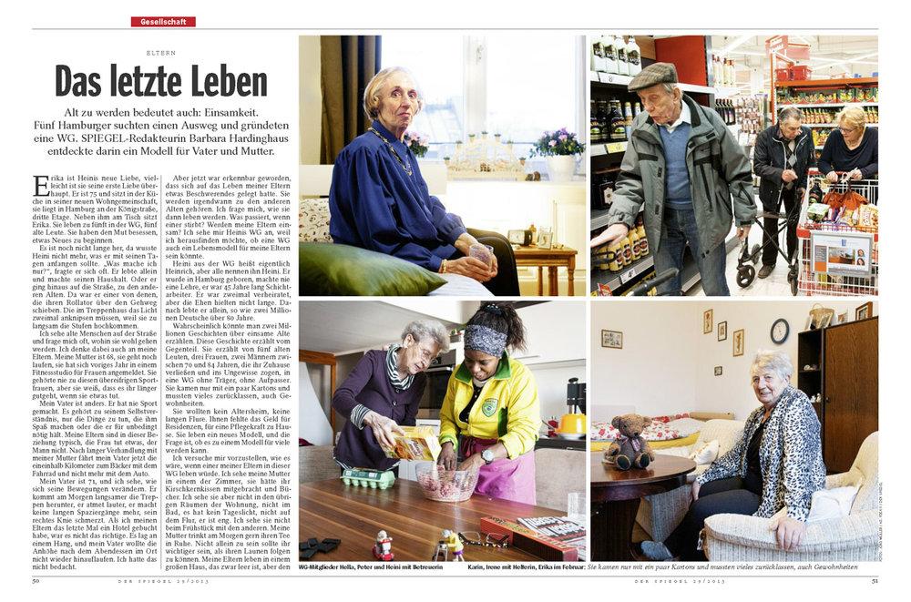 DER SPIEGEL, Alten-Wohngemeinschaft in Hamburg, ausgezeichnet beim Deutschen Jourmalistenpreis