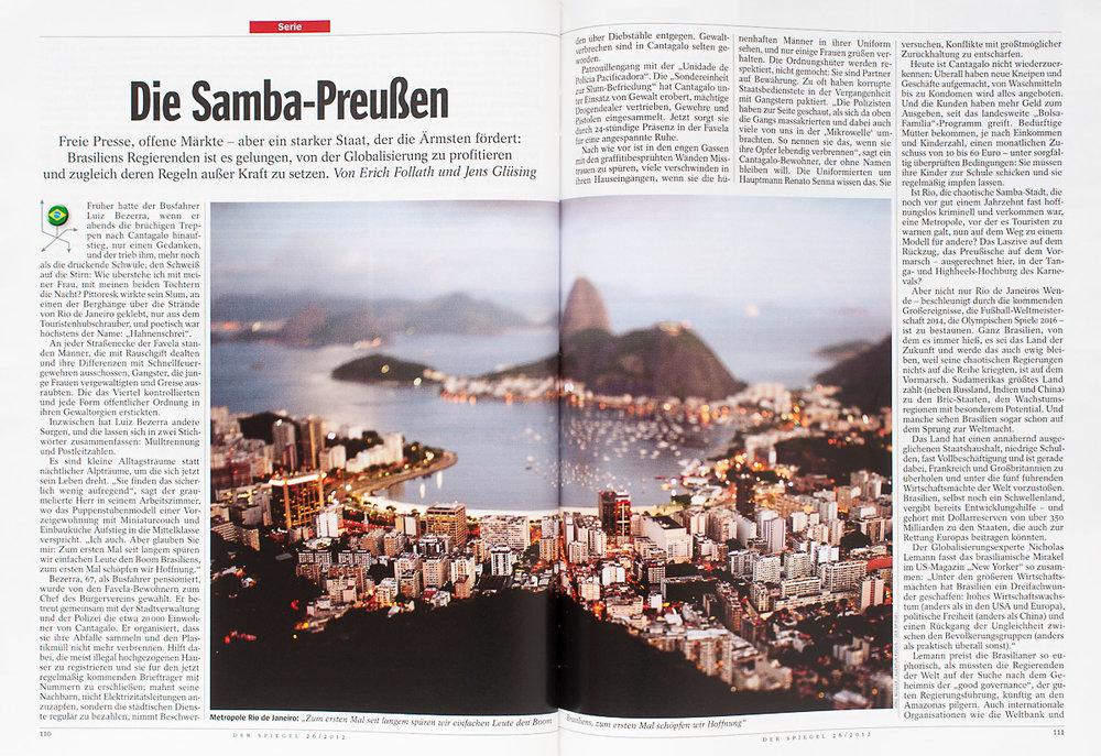 Veröffentlichung Die Samba Preußen in DER SPIEGEL © Jörg Müller / Agentur Focus