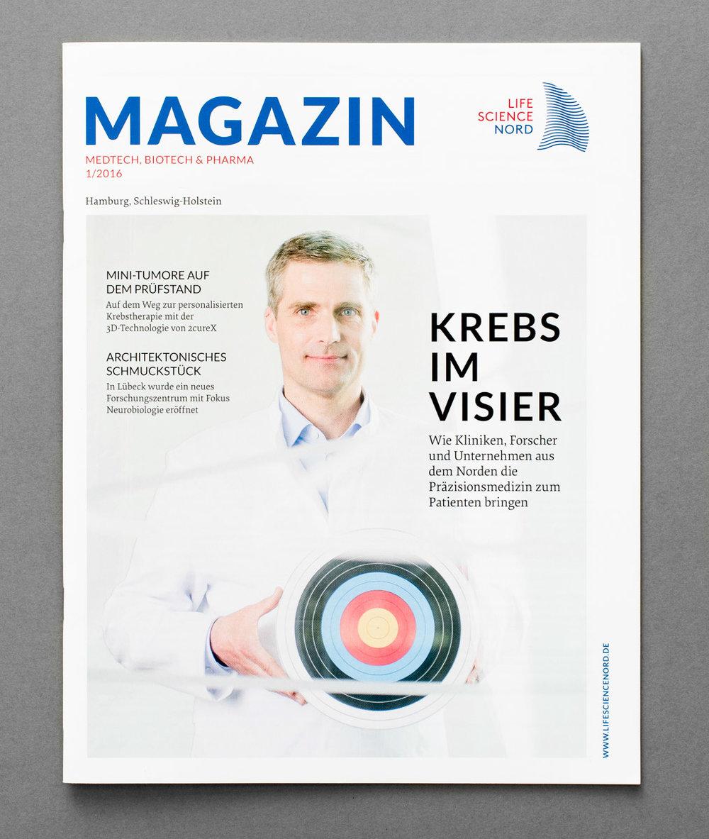 Titel zum Thema Krebs für das Magazin von Life Science Nord