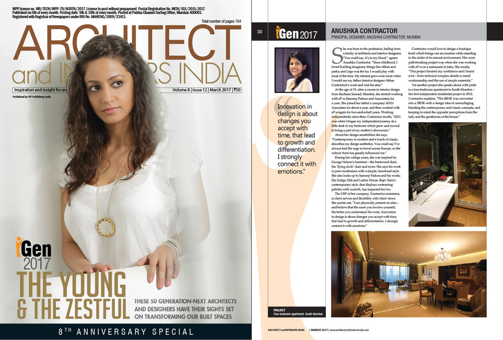 Architect and Interiors India, March 2017