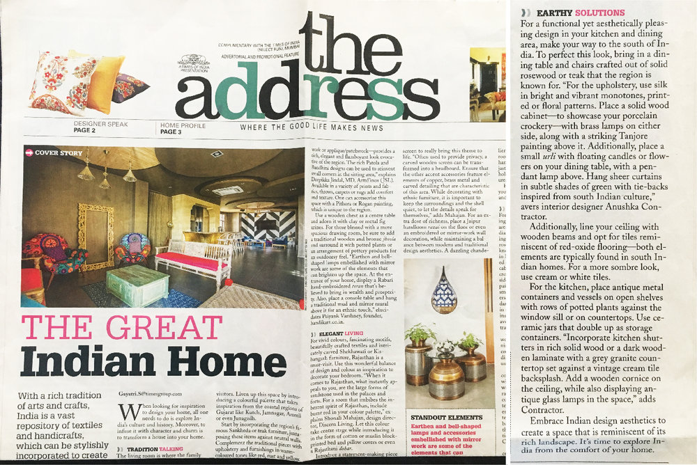 A Times of India- The Address, Aug 2016