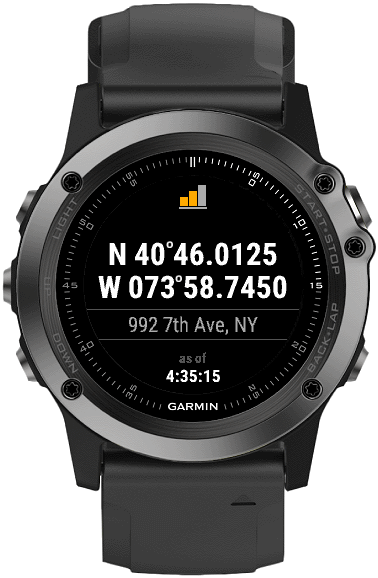 Position   Connect IQ widget for Garmin watches which can show your GPS coordinates, address, and location on a world map