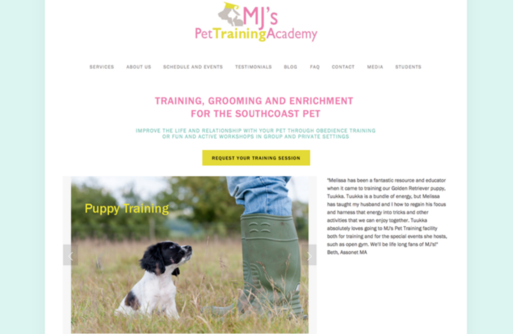 MJ's Pet Training Academy: Logo and Web Design