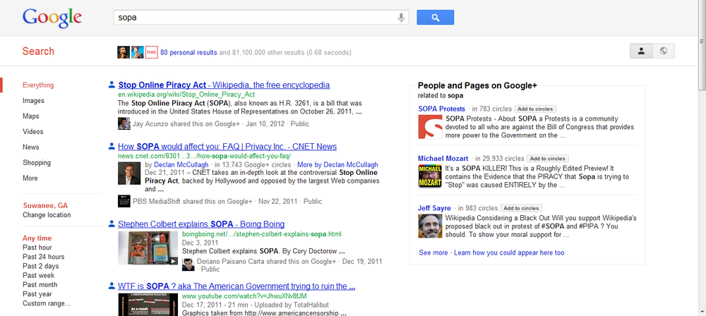 SOPA - social search results