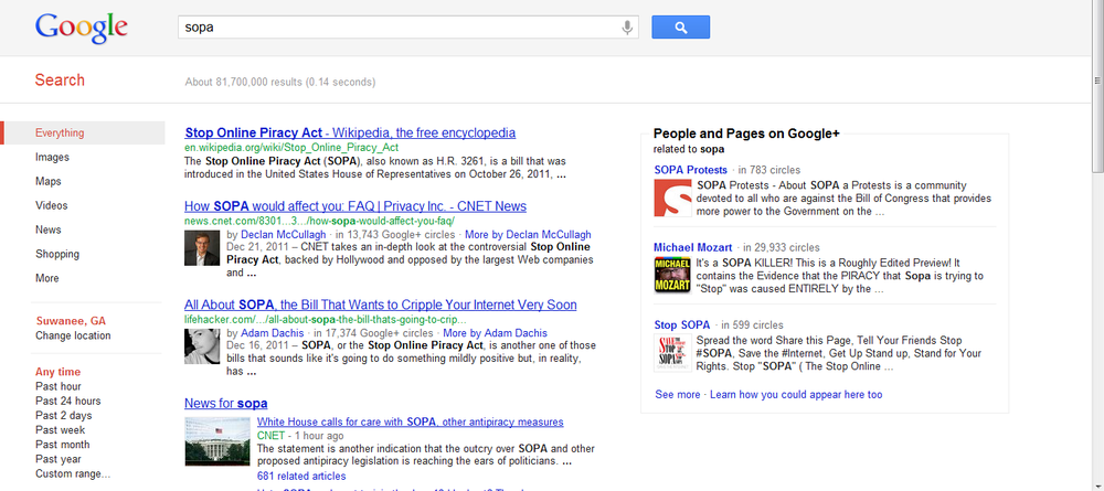 SOPA - traditional search results