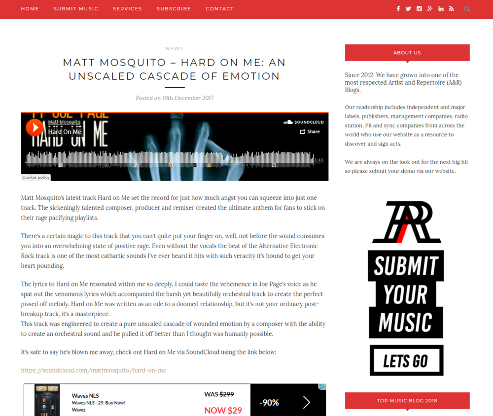 Matt Mosquito – Hard on Me  An Unscaled Cascade of Emotion   Unsigned Music   New Music   Music Industry Blog (1).png