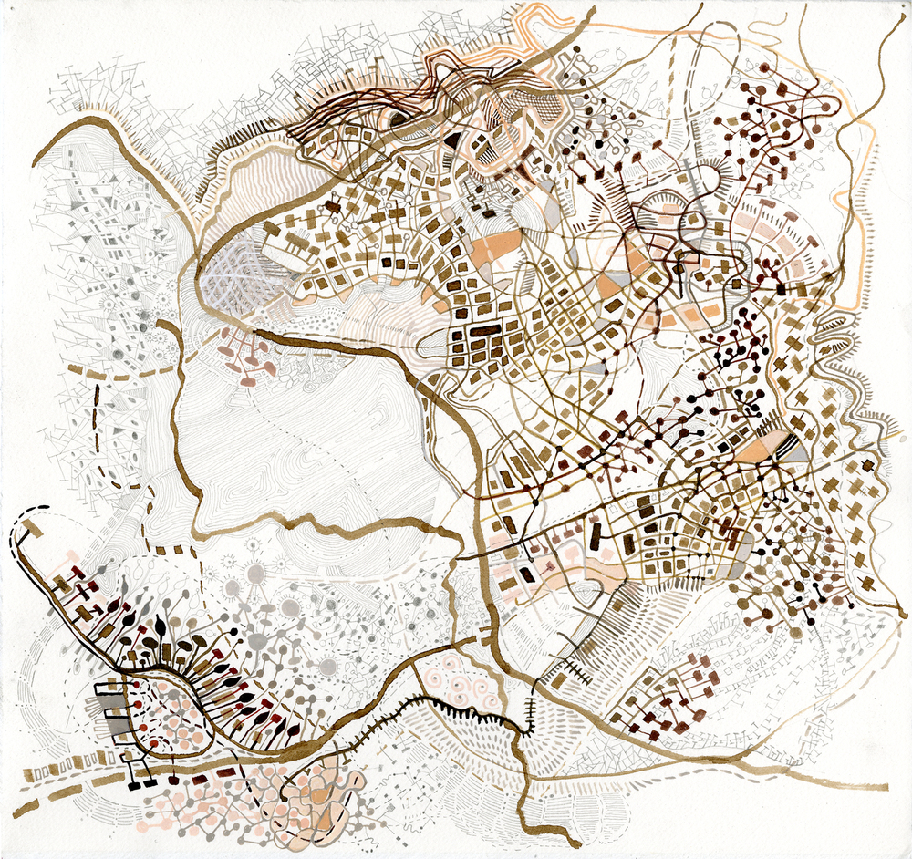 Topographics / 009, 2014, walnut ink, pencil, watercolor and gouache on paper 17 x 17.5 inches