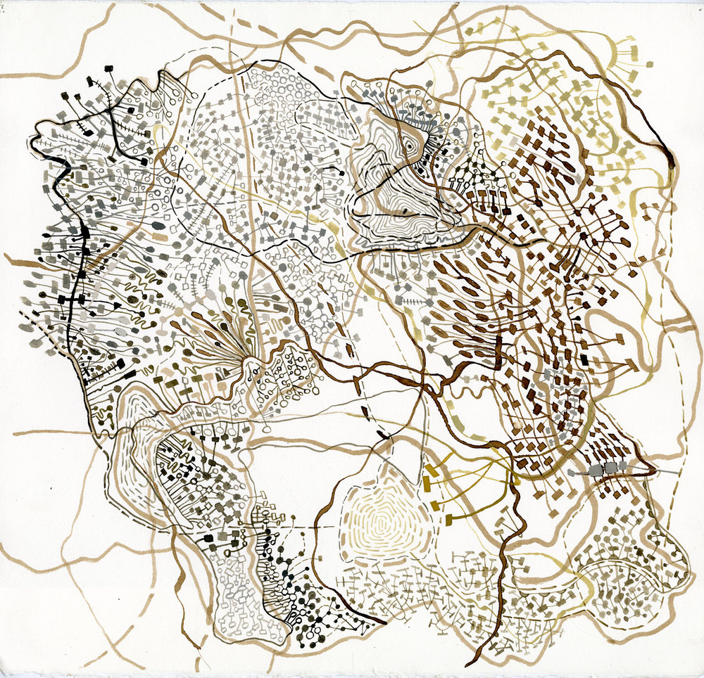 Topographics / 03, 2014, walnut ink, pencil, watercolor and gouache on paper 17 x 17.5 inches