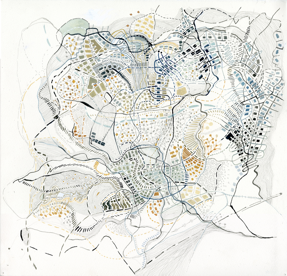 Topography / blue, 2014, walnut ink, pencil, watercolor and gouache on paper 17 x 17.5 inches