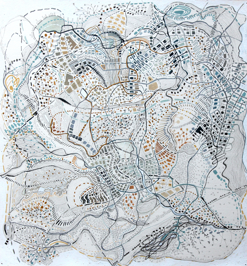 cities of desire, #9, 2015 pencil, ink, gouache, watercolor on paper, 17.25 x 17.5 inchea