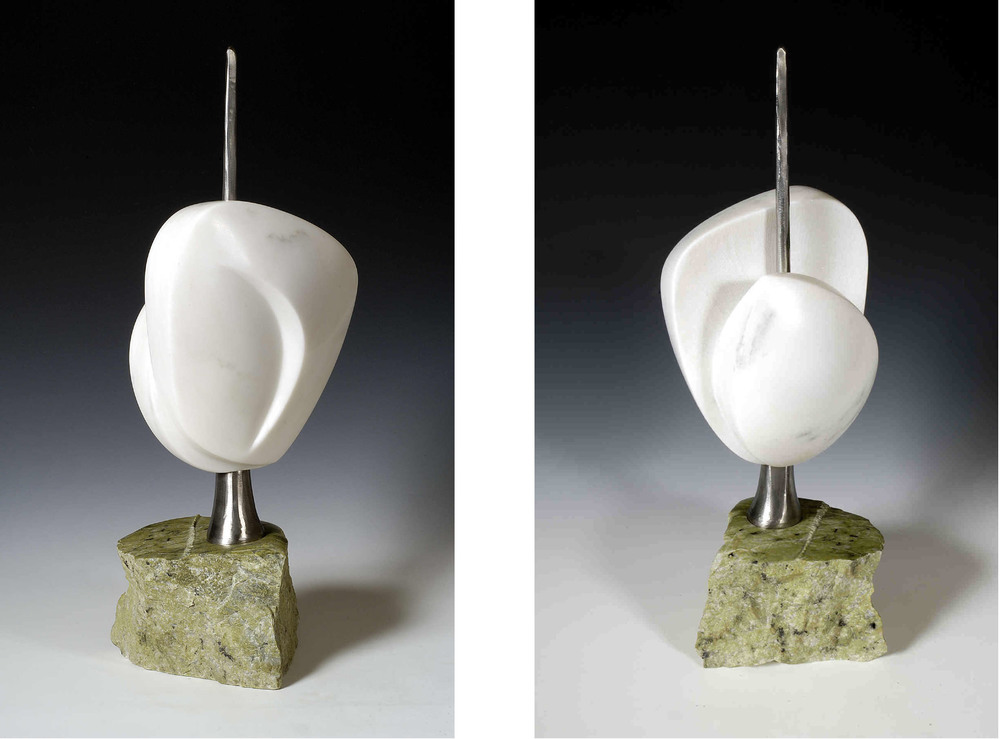 Seedling - 21 x 8 x 6 inches - VT white marble, Canadian serpentine, stainless steel