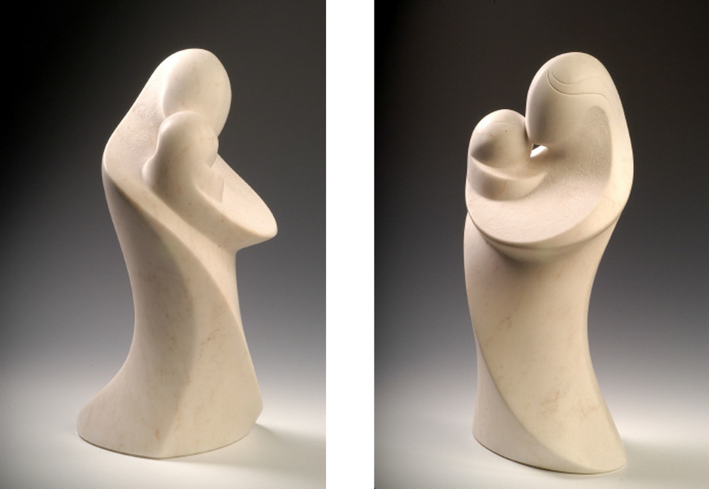 Motherly Devotion   - 18 x 9 x 7 inches - Danby VT white marble - private collection