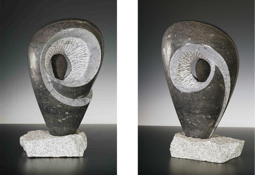 Standing Proud   - 16 x 10 x 8 inches - Champlain Black marble with granite