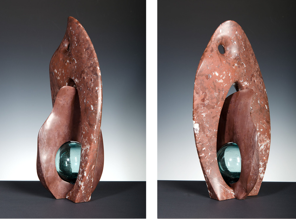 Beginnings - 21 x 11 x 9 inches - Swanton Red marble with glass
