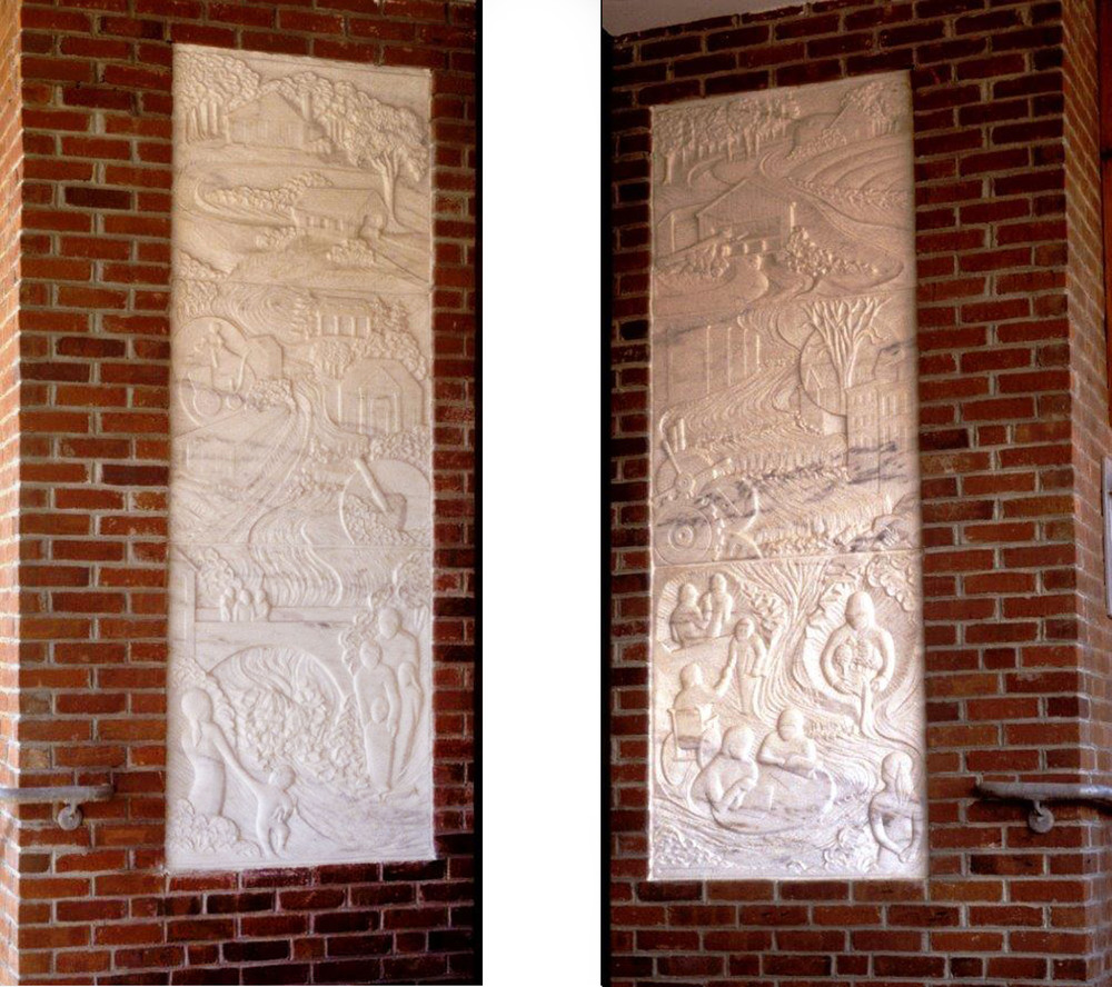 Springfield, VT: Heritage & Promise -30 x 90 inches each installed.