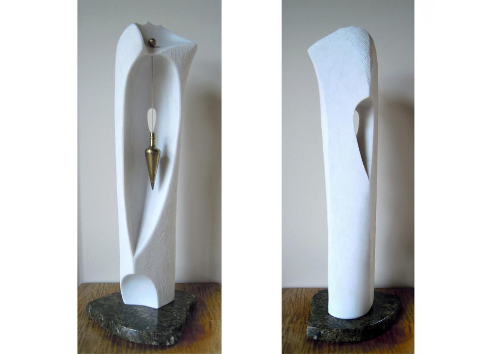 Enchantress - 28 x 11 x 9 inches - VT marble, brass, granite base