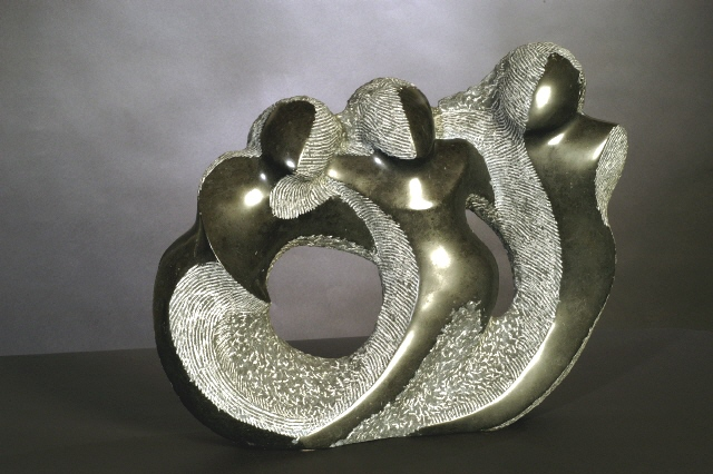 Frolic in Black - 17 x 22 x 8 inches - Champlain Black marble - private collection