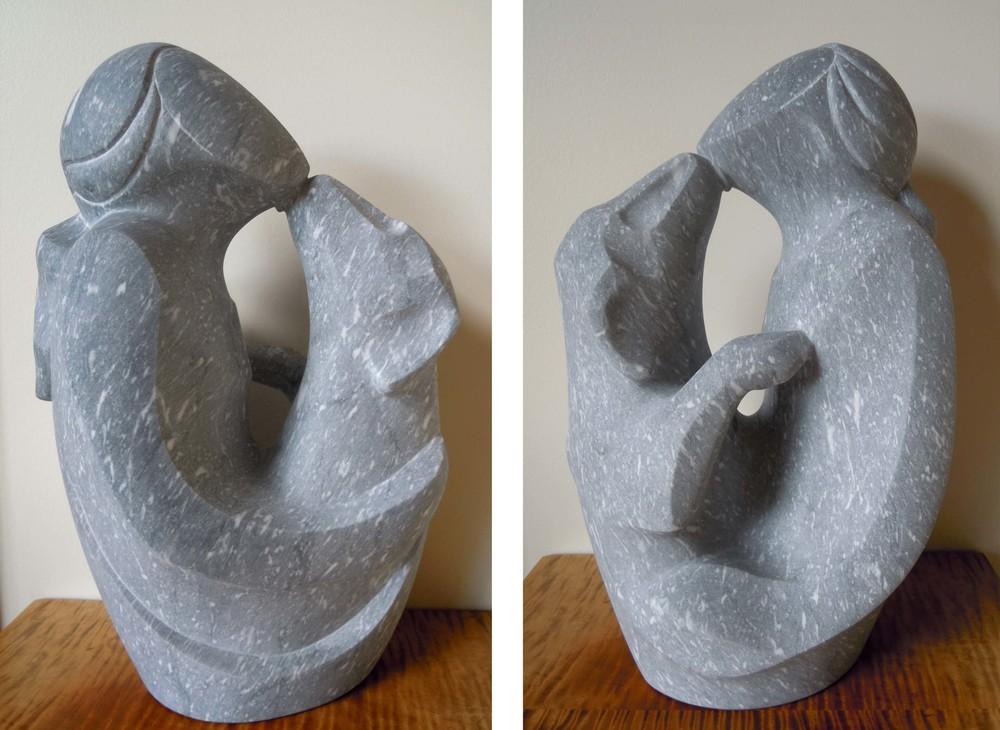 The Kiss - 18 x 12 x 8 inches - W. Rutland Blue marble