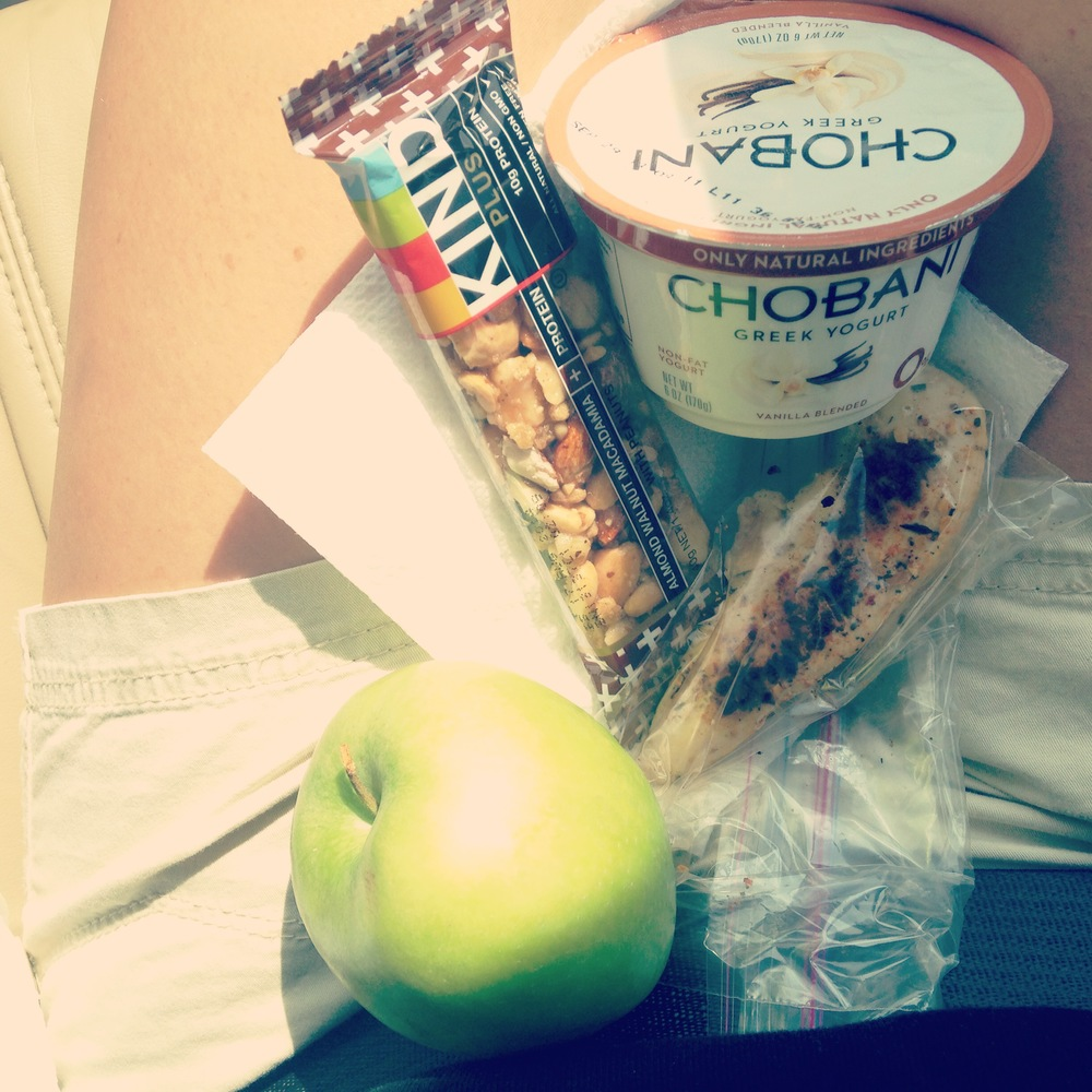 greek yogurt, Kind bar, apple, cold chicken