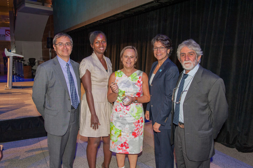 The GSK Team (L-R): Didier Lapierre, Marie-Chantal Uwamwezi, Sophie Biernaux, Deirdre Connelly, and Joe Cohen