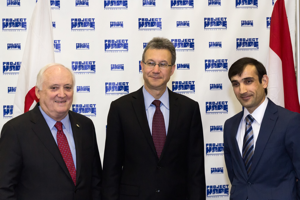 Dr. John Howe III, Daniel Rosenblum and Tajikistan Embassy Third Secretary Zokir Zarifov